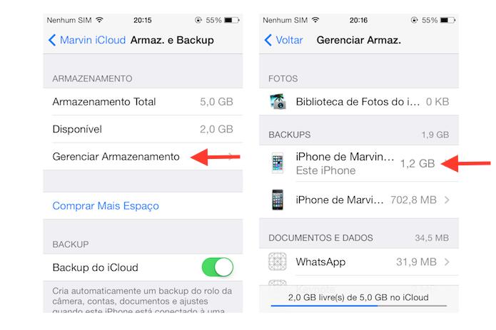 Acessando as opções de backup no iClou do dispositivo iOS (Foto: Reprodução/Marvin Costa)