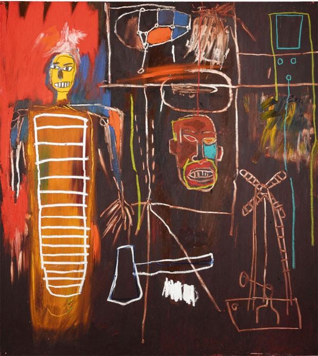 'Air Power', quadro de Jean-Michel Basquiat que pertencia a David Bowie foi leiloado pela Sothebys por 7,09 milhões de libras. (Foto: Divulgação/Sothebys)