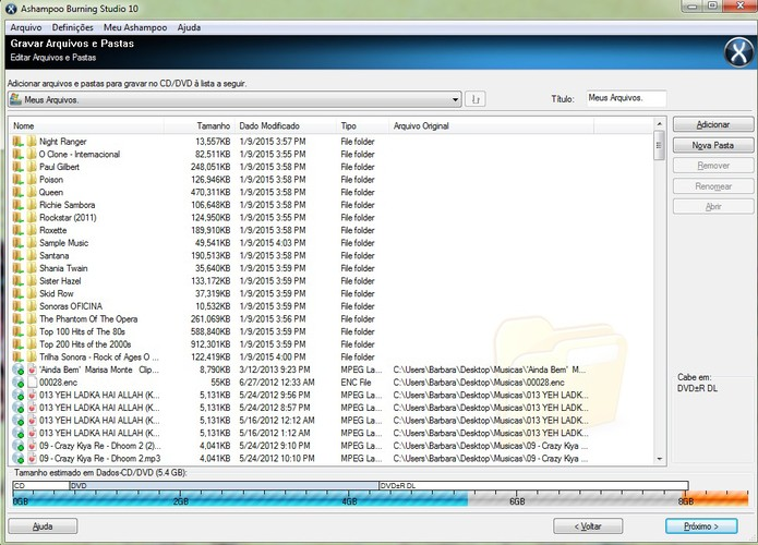 Gravação do DVD DL pelo Ashampoo: verifique o limite de armazenamento (Reprodução/Barbara Mannara)