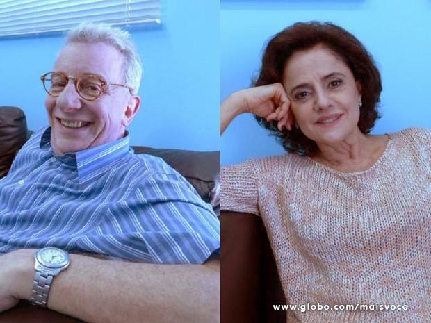 Marco Nanini e Marieta Severo nos bastidores do Mais Você (Foto: Mais Você/ TV Globo)