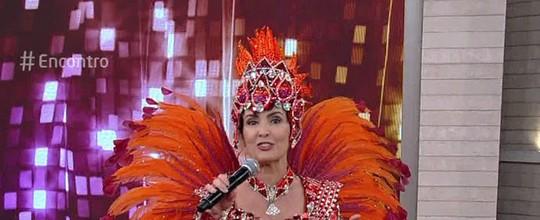 Fátima Bernardes apresenta o 'Encontro' vestida de porta-bandeira