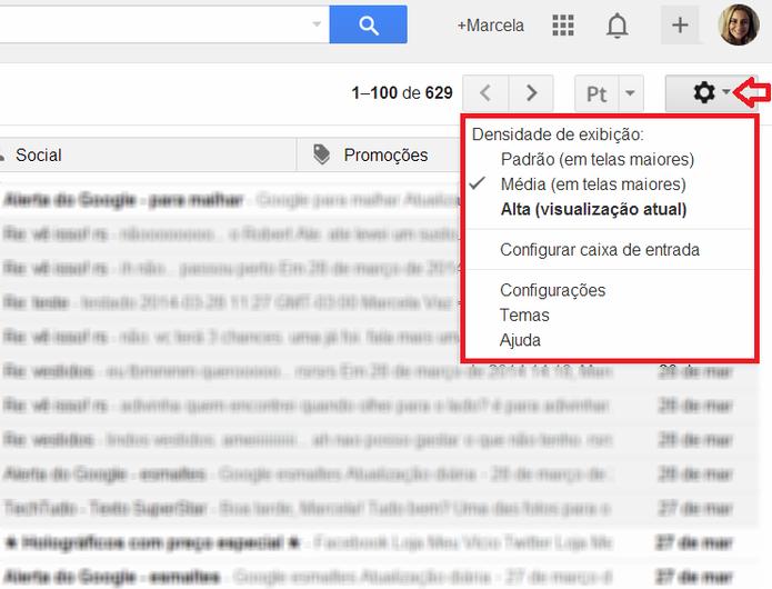 Configurações do Gmail (Foto: Reprodução/ Marcela Vaz)