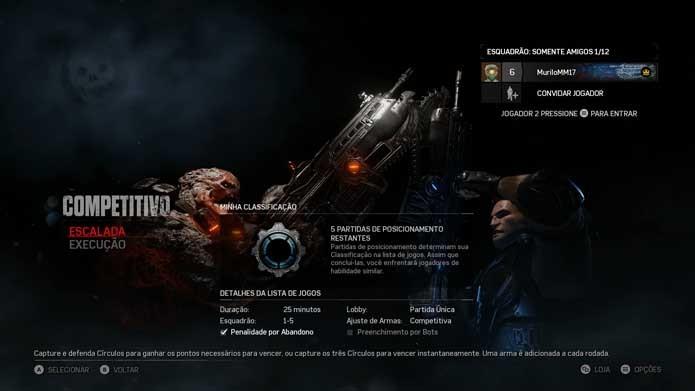 Escolha Escalada ou Execução em Gears of War 4 (Foto: Reprodução/Murilo Molina)