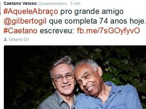 Caetano Veloso postou foto e texto em homenagem ao aniversário do amigo Gilberto Gil, Bahia (Foto: Reprodução/ TV Bahia)