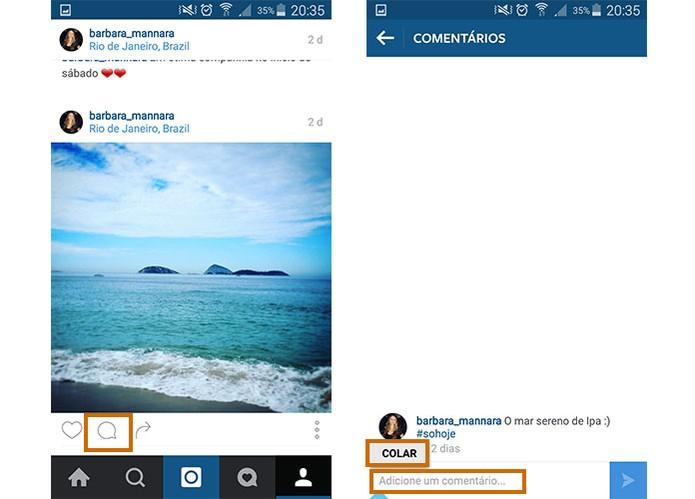 Cole o texto no espaço de comentários na foto do Instagram (Foto: Reprodução/Barbara Mannara)