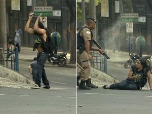 Policial atira em jovem com os braços levantados.  (Foto: Reprodução/TV Globo)