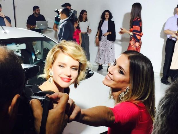 As atrizes Bruna Linzmeyer e Deborah Secco participaram do lançamento do Mobi (Foto: Luciana de Oliveira / G1)