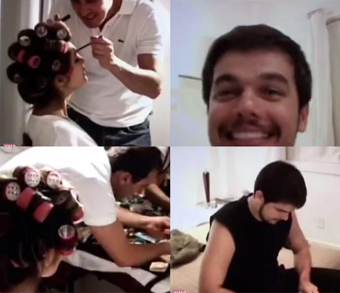 Flávia Alessandra chamou Otaviano Costa para se arrumar com ela (Foto: Vídeo Show / Gshow)