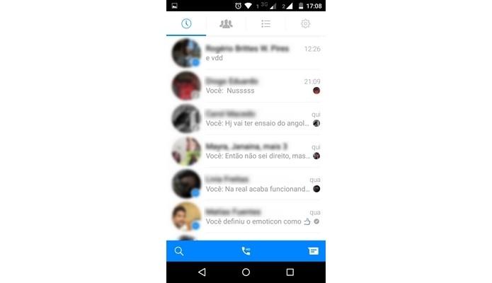 Lista de conversas no Facebook Messenger para Android (Foto: Reprodução/ Raquel Freire)