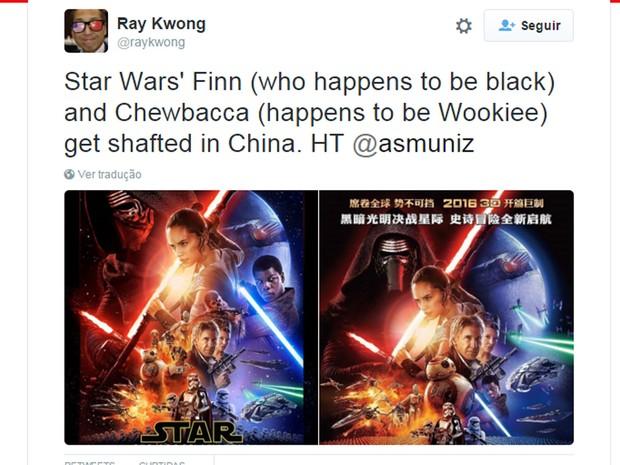 Fã de 'Star Wars' compara o cartaz original de 'Star Wars: Episódio VII – O despertar da força' e a versão chinesa, que teria gerado acusações de racismo por diminuir o tamanho ou apagar imagens de atores negros; Chewbacca também foi 'eliminado' (Foto: Reprodução/Twitter/raykwong)