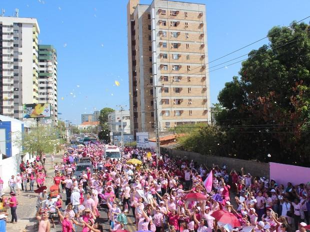 Pétalas foram jogada de um helicóptero e marcou caminha do Outubro Rosa, em Teresina (Foto: Beto Marques/G1)