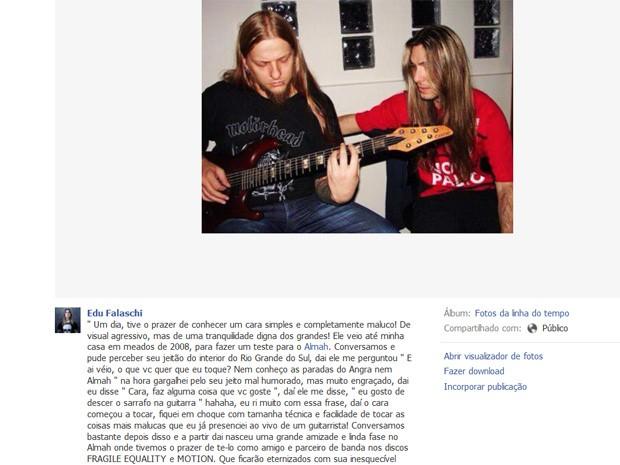 Eduardo Falaschi lamenta morte do guitarrista Paulo Schroeber. (Foto: Reprodução/Facebook)