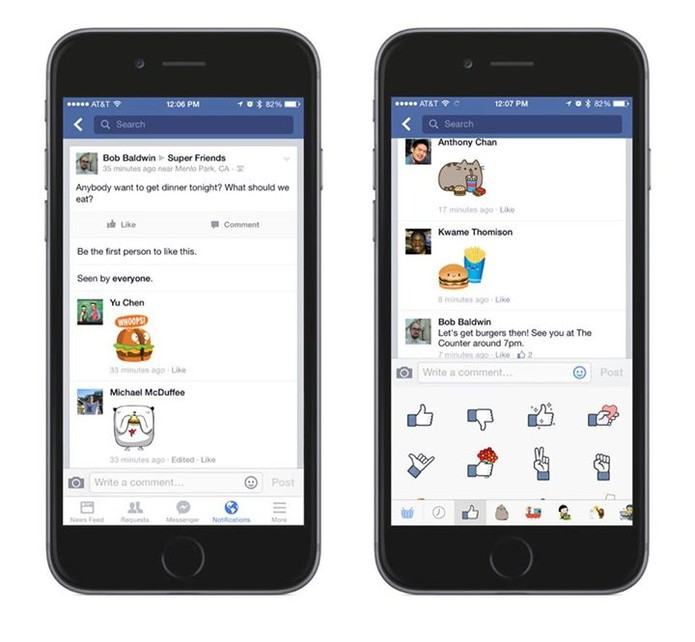 Facebook libera o uso de stickers nos comentários da rede social (Foto: Divulgação/Facebook)
