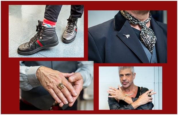 Os muitos acessórios usados por Lulu: broches, colar metálico e o marcante anel de caveira (Foto: Camila Serejo / Tv Globo)