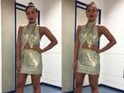 Anitta usa vestido curtinho e cheio de brilhos para gravar 'Amor e Sexo'