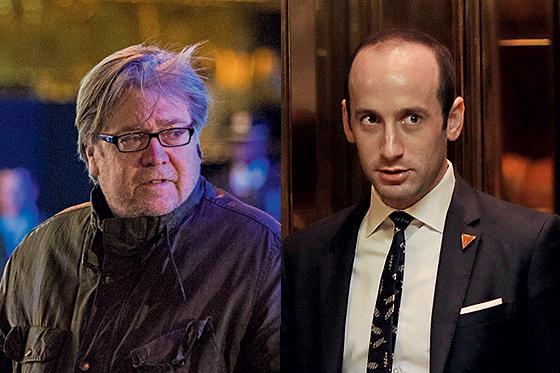 ELES MANDAM  À esquerda, Stephen Bannon. À direita, Stephen Miller. Os dois influenciam o discurso  e as decisões do  governo Donald Trump (Foto: Eduardo Munoz Alvarez e Dominick Reuter/AFP)