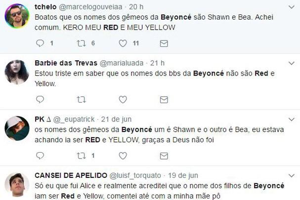 Reação no Twitter dos nomes dos bebês de Beyoncé (Foto: Reprodução/Twitter)