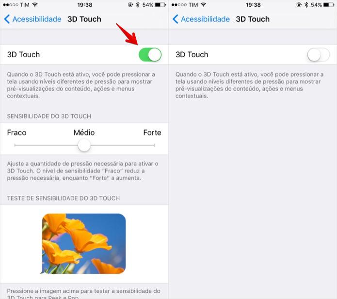 Ativando ou desativando o 3D Touch do iPhone 6S (Foto: Reprodução/Helito Bijora)