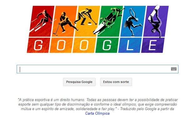 Doodle do Google marca início dos Jogos Olímpicos de Inverno de Sochi, na Rússia (Foto: Reprodução/Google)
