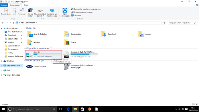 Pasta Windows.old fica localizada no disco de instalação do sistema (Foto: Reprodução/Elson de Souza)