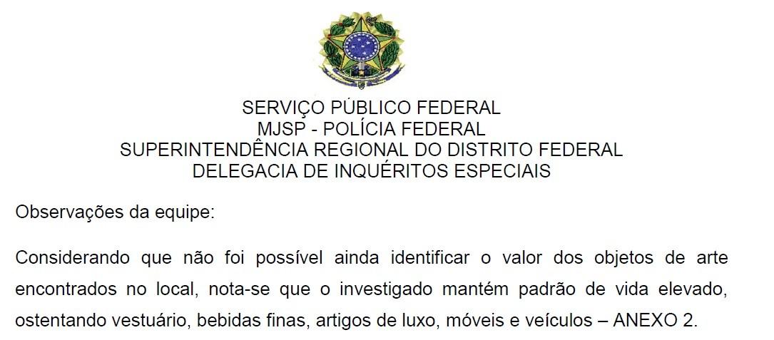 Trecho de relatório da PF sobre buscas na residência do peemedebista Tadeu Filippelli (Foto: Reprodução)