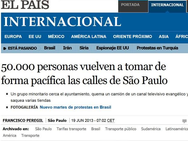 El País fala em tomada das ruas em São Paulo (Foto: Elpais.com/ Reprodução)