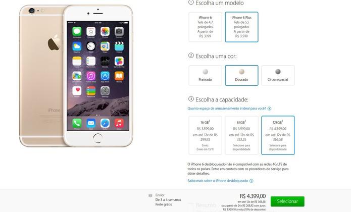 Pré-venda do iPhone 6 Plus com preço de até R$ 4.399 (Foto: Reprodução/Apple)