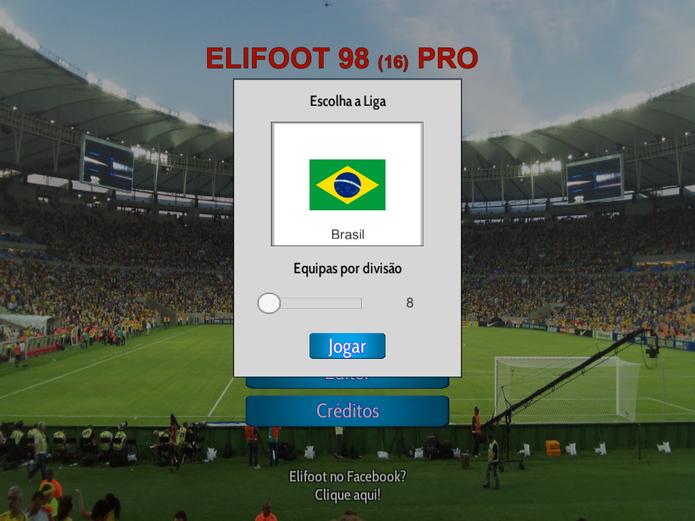 Escolha sua liga e times em Elifoot 98 (Foto: Reprodução/Felipe Vinha)