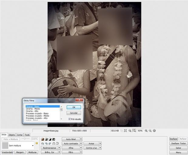 """Box de pré-visualização do filtro """"Cinema baixo""""  (Foto: Reprodução/Raquel Freire)"""