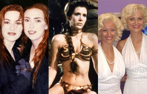 Kate Winslet e dublê, Carrie Fisher, Amy Poehler e dublê (Foto: Reprodução)