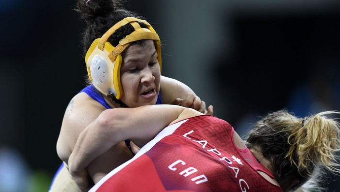 Lais Nunes Daniele Lappage evento-teste luta olímpica Rio 2016 (Foto: André Durão)
