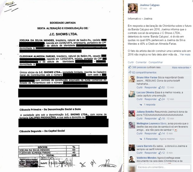 Comunicado Joelma Calypso (Foto: Reprodução/Facebook)