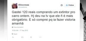 Decisão de extinção da obrigatoriedade do uso do extintor repercutiu nas redes sociais (Foto: Reprodução/Twitter)