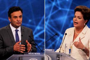 Aécio Neves (PSDB) e Dilma Rousseff (PT) no primeiro debate presidencial de 2014 (Foto: Agência O Globo)