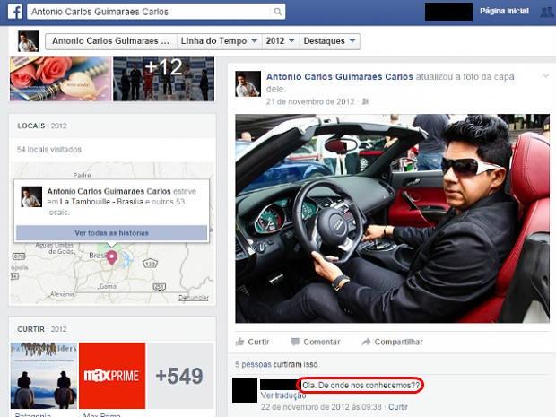 Em rede social, suspeito aparece em foto dirigindo carro de luxo; segundo polícia, ostentação era falsa (Foto: Facebook/Reprodução)