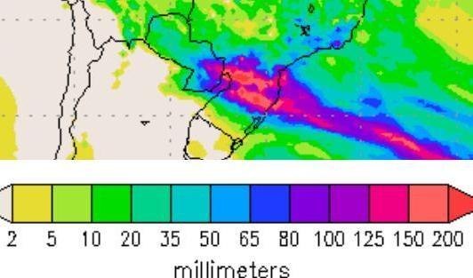Simulador de tempo prevê altos volumes de chuva acumulados ao longo do final de semana (Foto: Divulgação.)