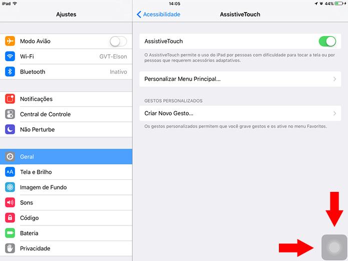 Posicione o botão virtual do AssistiveTouch no canto inferior direito da tela (Foto: Reprodução/Elson de Souza)