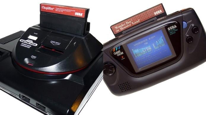 Com adaptadores era possível jogar Master System no Mega Drive e até no Game Gear (Foto: Reprodução/Game Trog e Blood is Red Wiki)