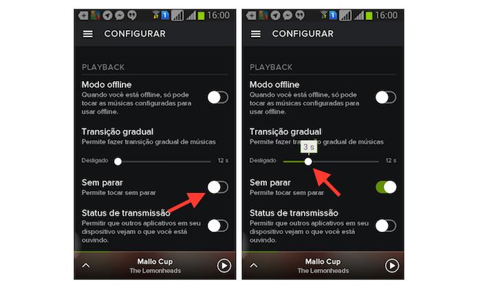 Configurando a opção tocar sem para do Spotify no Android (Foto: Reprodução/Marvin Costa)