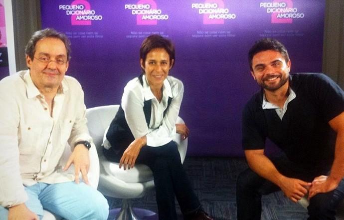 Dan entrevista Andréa Beltrão e Daniel Dantas no lançamento deAndréa Beltrão e Daniel Dantas. (Foto: Produção / Se Liga VM)