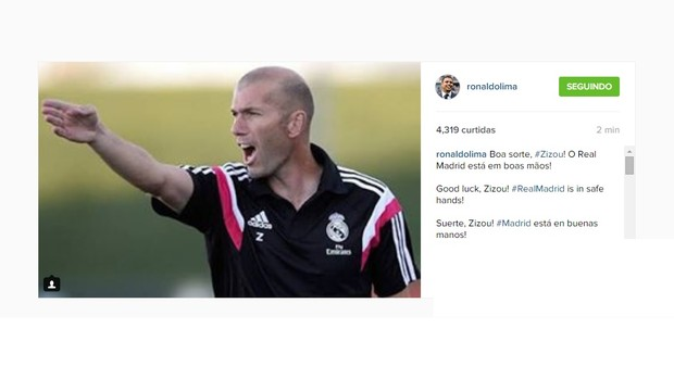 Ronaldo comenta sobre Zidane