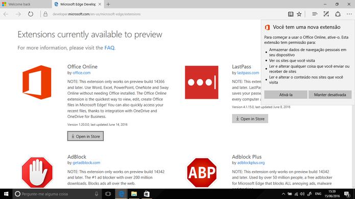 Microsoft Edge do Windows 10 ganhou nova extensão do Office Online (Foto: Reprodução/Elson de Souza)