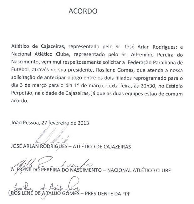 Acordo entre Atlético de Cajazeiras e Nacional de Patos (Foto: Divulgação / FPF)