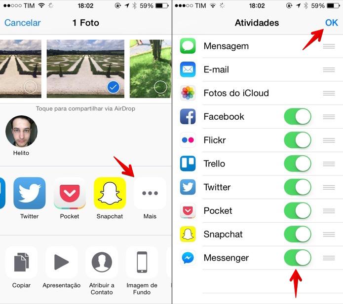 Ativando extensão de compartilhamento do Facebook Messenger (Foto: Reprodução/Helito Bijora)