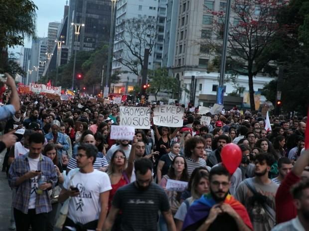 Ato contra governo Temer caminha da Avenida Paulista em direção ao Largo da Batata (Foto: Fábio Tito/G1)