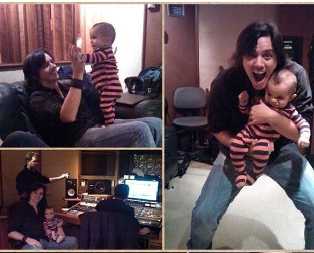 Dan leva o filho Luca para o estúdio (Foto: Encontro com Fátima Bernardes/TV Globo)