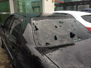 Granizo em Lages (Foto: Lucas Neves/RBS TV)