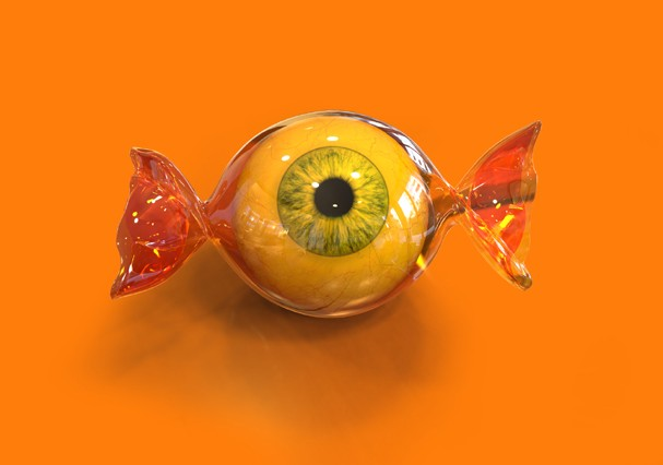 Eye ball halloween candy on orange background, 3d (Foto: Getty Images/iStockphoto)