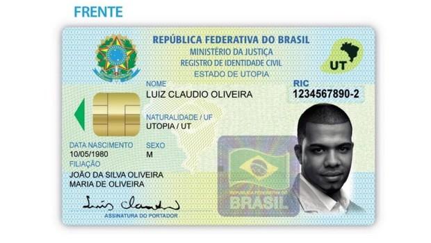 Modelo da nova carteira de identidade nacional, divulgado em 2008 pela PF (Foto: Divulgação)