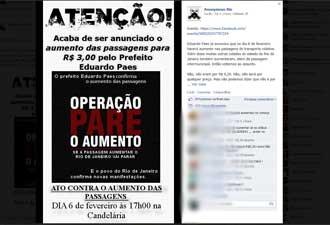 Ativistas mobilizam ato de protesto para 6 de fevereiro no Centro do Rio (Foto: Reprodução/Facebook)